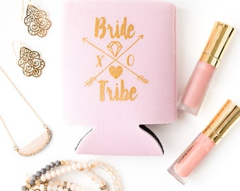Bride Tribe Drink Coolers | Boho Bachelorette Party Favors, Mint + Gold Tribal Arrows, Bride Tribe Bottle Can Coolers, Bohemian Bachelorette