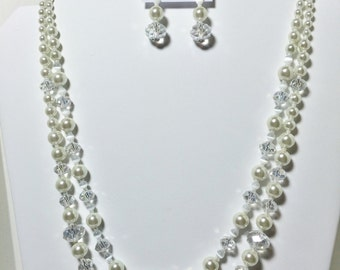 Bridal Wedding Jewelry Necklace Set, Bride Pearls Cat's Eye Necklace Earrings Set, Wedding Pearls Cat's Eye Necklace Earrings Set