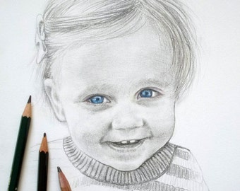 Portrait drawing A5 BW pencil illustration from your photo Black and White, baby, child, mother, memory