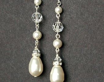 Swarovski Pearl and Crystal Bridal Drop Earrings, Bridesmaid Jewelry, Teardrop Pearl Dangle Earrings, Wedding Jewelry, SNOW DROP