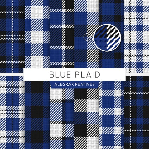 Blue Plaid Digital Paper Plaid Tartan Buffalo Check