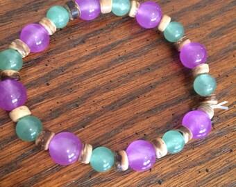 Green & Purple beaded Bracelet, green bracelet, purple bracelet, beaded bracelet, green jewelry, purple jewelry, beaded jewelry, purple gift