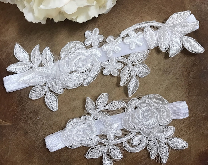 Wedding Garter Set, lace garter NO SLIP grip, WHITE E33-E33