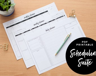 Scheduling Suite - Monthly Planner, Weekly Planner & Daily Planner, PDF Printable
