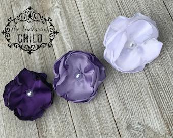 Purple Lavender White Hair Tie Ponytail Set - Flower Hair Tie - Flower Ponytail - Elastic Hair Tie - Ponytail Holder Set