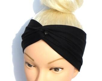Turban Headband Turban Hairband Twist Headband Workout Headband Black Running Headband Yoga Black Turban Headband Black Headband Twisted