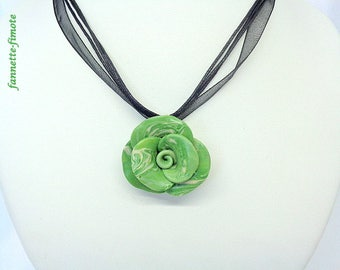 """Handmade polymer clay flower """"Rose"""" Green Khaki and Beige necklace-"""