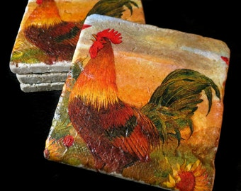 Rooster coaster set. **Ask for free gift wrapping and have them sent directly to the recipient!**
