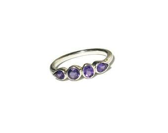 Amethyst Gemstone Band, Sterling Silver, 4 stone ring, bezel, birthstone, Made to Order