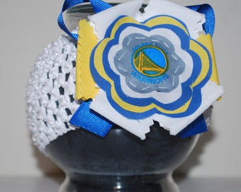 Golden State Warriors Fabric Flower Headband for Baby