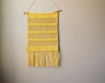 Modern Cotton Tapestry / Bohemian Wall Hanging / Fringe Tapestry / Crochet Handwoven / Golden Mustard Yellow / Rustic Textile / Boho Décor