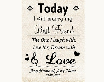 Shabby Chic Ivory Today I Marry My Best Friend Personalised Wedding Sign
