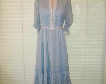 Vintage Blue prairie dress, farmgirl dress, bohemian boho dress,  hippie chick, fit to flair, festival dress, calico, square dancing, medium