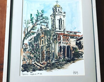 1954 Watercolor Art, Vintage Art, Mexico, Taxco, Signed Art, Framed Art
