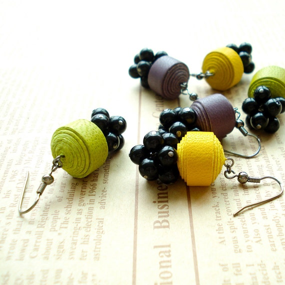 Colorful Genuine Leather Ball Earring