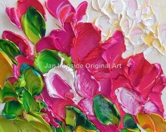 Oil Painting  Original art Impasto  Pink Peony Painting Jan Ironside