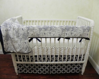 Airplane Crib Bedding Set Hayes - Boy Baby Bedding, Bumperfree Crib Bedding, Navy Crib Bedding, Crib Rail Cover