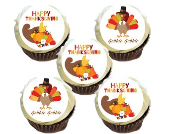 """15 2"""" Thanksgiving Cupcake Cookie Edible Image Toppers *Printed on Premium Icing Sheets*"""