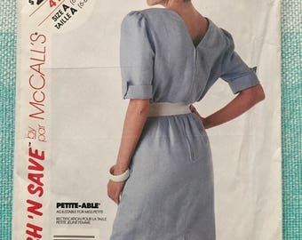 1980s McCall's 4153 Sewing Pattern Ladies Misses Dress Puff Sleeves V-Neckline Back Straight Skirt Cuffs Belt Size 6-8-10 Bust 30-31-32