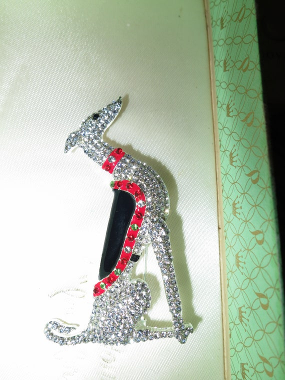 Beautiful vintage Art Deco design greyhound Borzoi dog rhinestone brooch