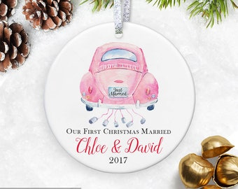 Just Married Ornament Wedding Ornament First Christmas Married Ornament Wedding Gift for Newlywed Ornament Wedding Car Ornaments