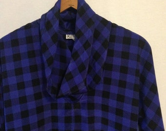 1980s purple and black plaid blouse by Campus Casuals