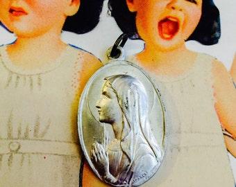 VINTAGE LOURDES MEDAL Large Aluminum Religious Souvenir France