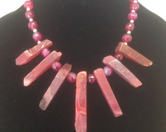 Fuschia Agate Picket and Ball Necklace and Earring Set