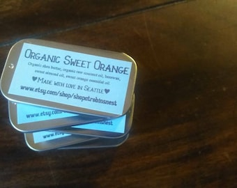 Organic Sweet Orange Lip Balm in Adorable Tin