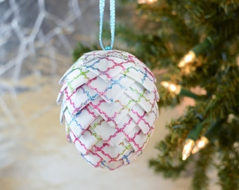 Rainbow Christmas Ornament white with pink aqua and green glitter pattern Modern Ribbon Egg Handmade Ornament for your Holiday Tree Decor