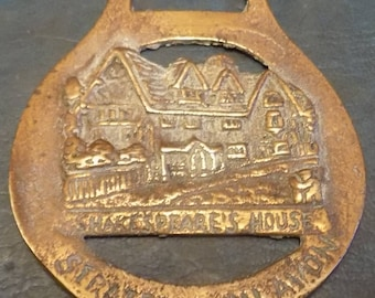 Rare vintage HORSE BRASS William Shakespeares House Stratford on Avon Design Made in England