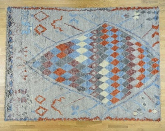 """9'x12'1"""" Pure Wool Hand-Knotted Moroccan Tribal Design Shaggy Rug"""
