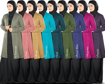 Simple and Elegant Jersey Cardigan for Muslim Girls | CA-001 | Islamic Tops | In 8 Different Colors | Jersey Fabric