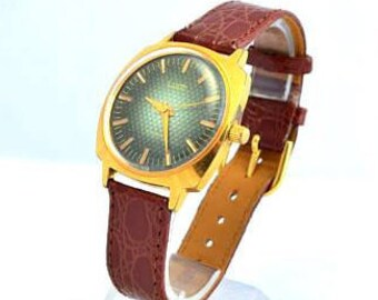 Mens wrist watch, Gold plated Watch, Boyfriend watch, Gifts for Men, Brown Leather Watch, Birthday Dad gift, Grandfather Groom