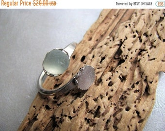 Mothers Day Sale Double Sea Glass Seafoam and Amethyst Ring - Beach Glass Ring - Beach Glass Jewelry -Pure Sea Glass from Prince Edward Isla