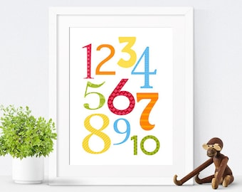 Printable Nursery Art, Nursery Decor, Kids Wall Art, Children's Art, Numbers Print, Gender Neutral, Instant Download