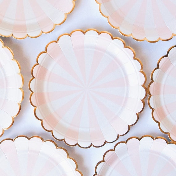 Pink and white stripe plates Scalloped edge pink wedding baby shower children\u0027s party Vintage style paper party plates Meri Meri from Forjustoneday ...  sc 1 st  Etsy Studio & Pink and white stripe plates Scalloped edge pink wedding baby ...