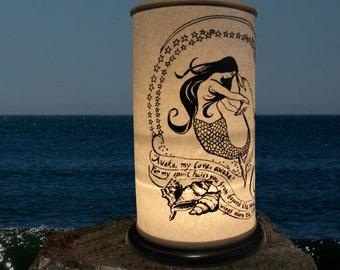 Mermaid, Dolphin,shoji lantern,Home decor,Beach Lighting,wedding ocean sea, Jacques Cousteau,Kahlil Gibran,Romance,Romantic Lighting