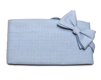 Blue Glen Plaid Cummerbund & Bow Tie~Mens Cummerbund Set~Mens Formal Wear~Groomsmen~Groom~Self Tie Bow Tie~Men Gift~Wedding