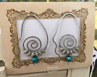 Bohemian pearl hoops