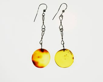 Natural amber long earrings 6.7g