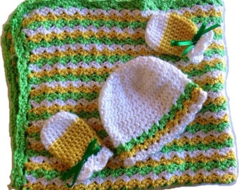 Baby Gift Set, Crochet Baby Blanket, Crochet Baby Hat, Scratch Miitens, Car Seat Blanket, Stroller Blanket, yellow, green, white