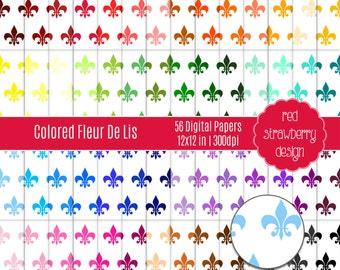 75% OFF Sale - 56 Digital Papers - Colored Fleur De Lis - Instant Download - JPG 12x12 (DP269)