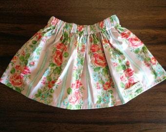 Girls skirt, Girls Pink and Aqua Floral Gathered Waist Skirt