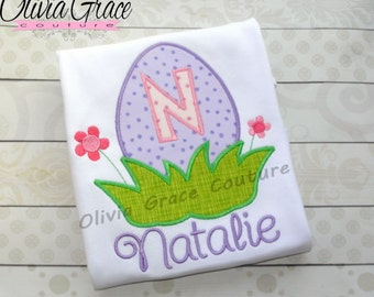 Girls Easter Shirt, Easter Egg Shirt, Monogramed Easter Shirt, Embroidered Applique Easter Shirt or Bodysuit