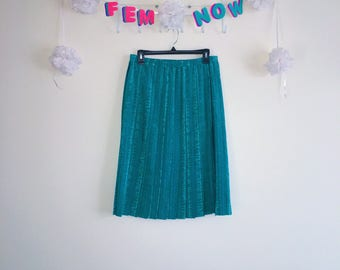 Vintage 1970s Skirt, Leslie Fay - Teal Knee Length