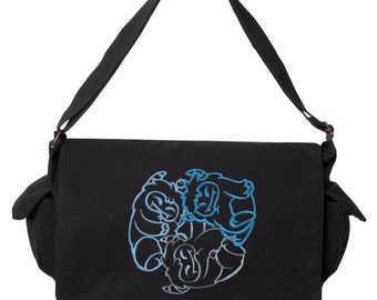 FantastiCute - Yetis Embroidered Canvas Cotton Messenger Bag