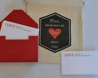 Love Cards with Fabric Gift Bag for Birthday, Mother's Day