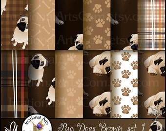 Pug Dog Browns set 1 - 12 digital papers including pug dogs, paw prints, bones, and plaids {Instant Download}