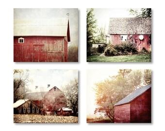 Barn Print, Red Barn Photos, Farmhouse Decor, Set of 4, Red Barn Photography, Barn Canvas Art, Red Barn Print Set